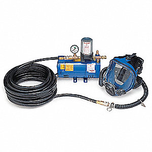 Supplied Air Pump Package, 1/4 HP, People Served: 1, Headgear Included: Full Face Respirator