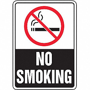 No Smoking Sign,10 x 7In,R and BK/WHT,AL