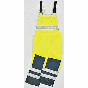 Rain Bib Overall, High Visibility: Yes, ANSI Class: Class E, Polyester, Polyurethane, 5XL, Yellow\Gr