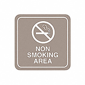 No Smoking Sign,5-1/2 x 5-1/2In,PLSTC