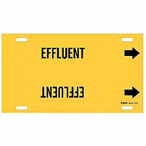 Pipe Marker,Effluent,Yellow,10 to 15 In