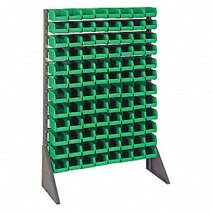 Bin Rail Floor Rack,96 Bins,Green