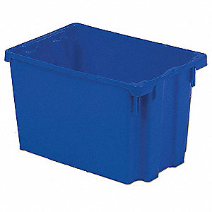 "Stack and Nest Container, High Density Polyethylene, 29-5/8"" Outside Length, 22-1/2"" Outside Width"