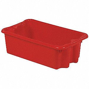"Stack and Nest Container, Red, 8""H x 24""L x 14-1/8""W, 1EA"