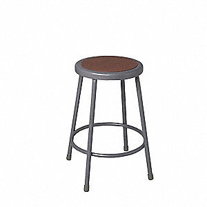 "Round Stool with 18"" Seat Height Range and 300 lb. Weight Capacity, Gray"