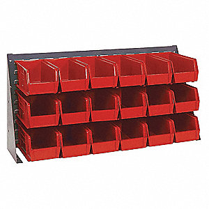 "Louvered Bench Rack with 18 Bins, 36""W x 1/4""D x 19""H, Number of Sides: 1, 150 lb. Load Capacity"