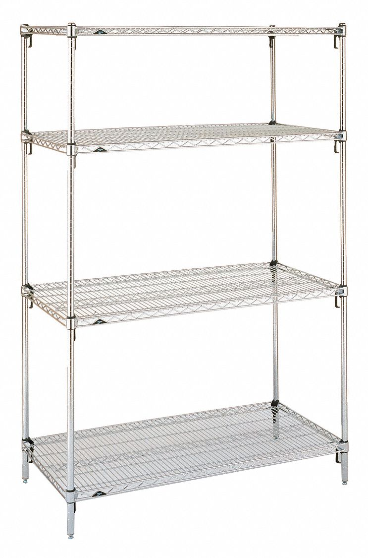 Starter Wire Shelving Unit 72 W X 24 D X 63 H 4 Shelves Chrome Plated Finish Silver