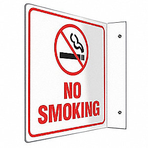 No Smoking Sign,8 x 8In,R and BK/WHT,PS