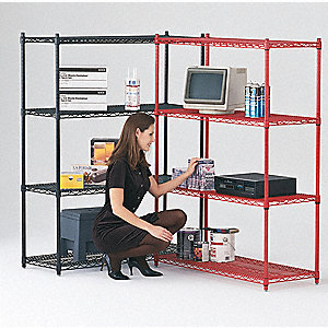 "36"" x 24"" x 68"" Steel Wire Shelving Cart with 800 lb. Load Capacity, Black"