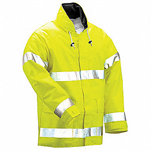 Arc Flash Rain Jckt W/Hd,XL,HiVis Lm Ylw