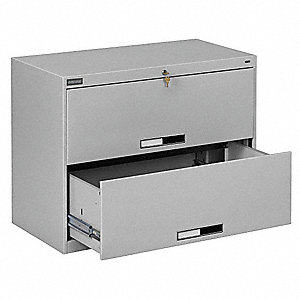 File Cabinet,42 in,2 Drawer,Grey