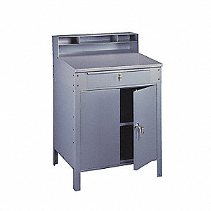 "34-1/2"" x 29"" x 53"" 14 ga. Steel Closed Foreman's Desk, Medium Gray"