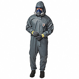 Hooded Chemical Resistant Coveralls with Elastic Cuff, Pyrolon® CRFR Material, Green, L