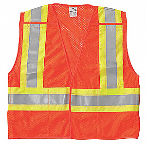 Breakaway Hi Vis Vest,Class 2,XL,Orange