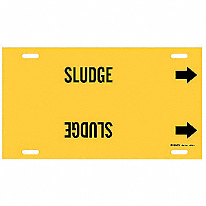 Pipe Marker,Sludge,Yellow,10 to 15 In