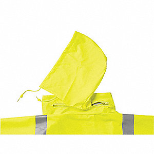 Men's Hi-Visibility Yellow/Green Polyurethane Rain Jacket with Detachable Hood, Size 4XL, Fits Chest