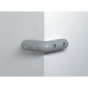 Corner Bumper,3 x 1-5/16 In,Gray,Drilled