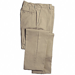 "Men's Industrial Work Pants, 65% Polyester/35% Cotton, Color: Khaki, Fits Waist Size: 34"" x 30"""
