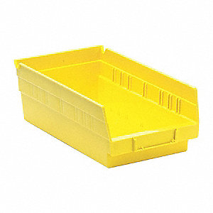 "Shelf Bin, Yellow, 11-5/8"" Outside Length, 6-5/8"" Outside Width, 4"" Outside Height"