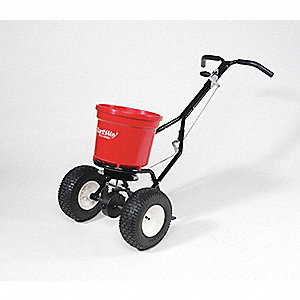 Broadcast Spreader, 50 lb. Capacity, Pneumatic Wheel Type, 1 Hole Drop Type, T-Bar Handle