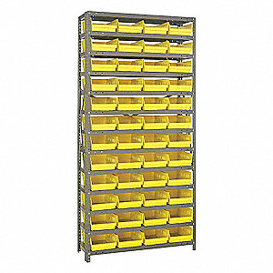 "Steel Bin Shelving with 48 Bins, 36""W x 12""D x 75""H, Load Capacity: 5200 lb., Gray"