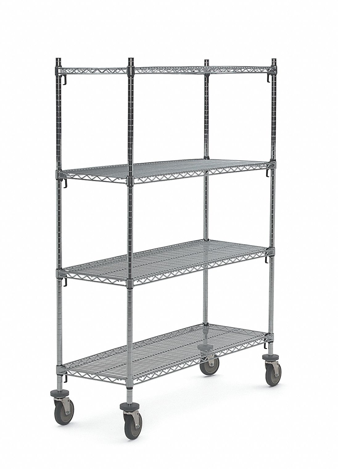 Mobile Wire Shelving Unit 60 W X 24 D X 69 H 4 Shelves Chrome Plated Finish Silver