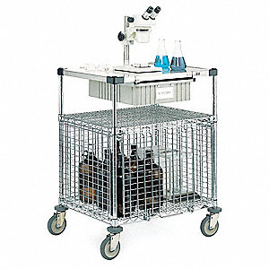 Wire Security Cart, 600 lb. Load Capacity, (4) Swivel Caster Type, Polyurethane Caster Material