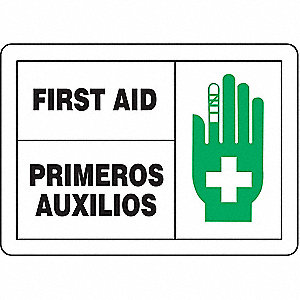 "First Aid, No Header, Aluminum, 7"" x 10"", With Mounting Holes, Not Retroreflective"
