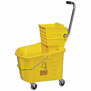Yellow Plastic Mop Bucket and Wringer, 8-3/4 gal.