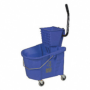 Blue Plastic Mop Bucket and Wringer, 8-3/4 gal.