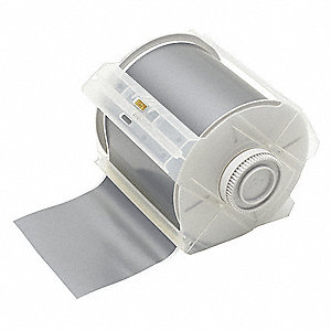 "Gray Polyester Label Tape Cartridge, Outdoor Label Type, 100 ft. Length, 4"" Width"