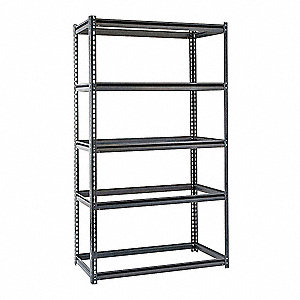 "Freestanding Boltless Shelving with None Decking, 5 Shelves, 72""W x 36""D x 72""H"