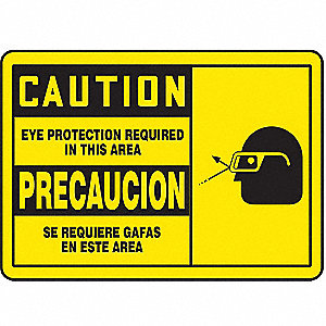 "Personal Protection, Caution, Vinyl, 3-1/2"" x 5"""