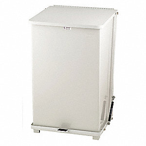 Trash Can,Square,40 gal.,White