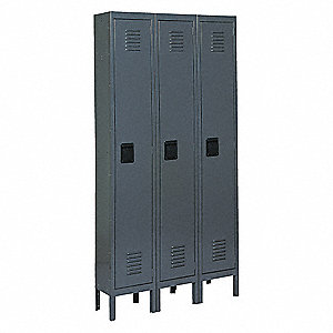 "Gray Wardrobe Locker, (3) Wide, (1) Tier Openings: 3, 36"" W X 15"" D X 66"" H"