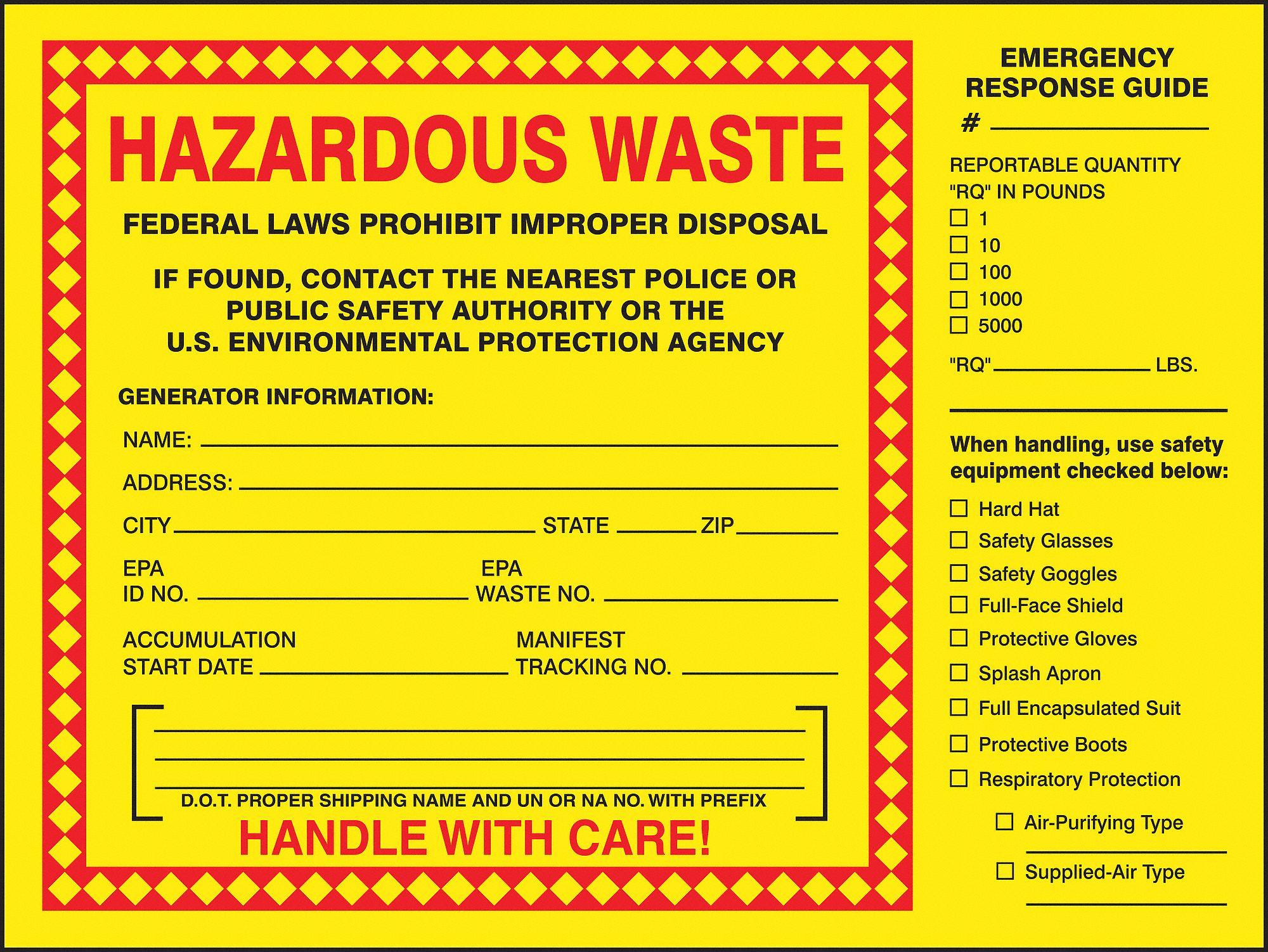 Vinyl Hazardous Waste Label, 6