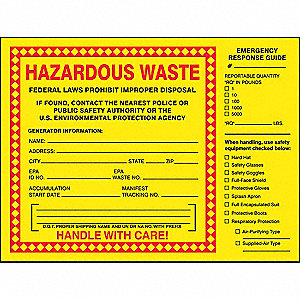 "Self Adhesive Vinyl Hazardous Waste Label, 6"" Height, 6"" Width"