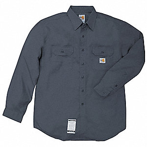 "Navy Flame-Resistant Collared Shirt, Size: 2XLT, Fits Chest Size: 50"" to 52"", 8.6 cal./cm2 ATPV Rati"