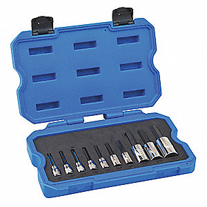 "Socket Bit Set,3/8"", 1/2"" Dr,10 Piec,Hex"