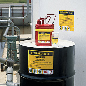Chemical Label, 3-1/2 In. H, PK25
