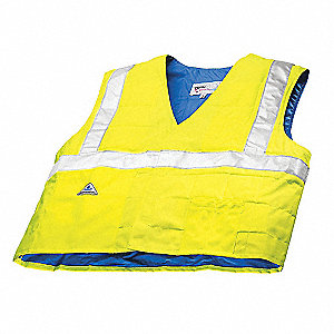 Evaporative Cooling Vest, Polyester Outer, With HyperKewl Fabric Inner, Hi-Visibility Lime, L/XL