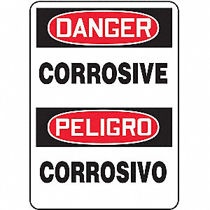 "Chemical, Gas or Hazardous Materials, Danger/Peligro, Vinyl, 14"" x 10"", Adhesive Surface"