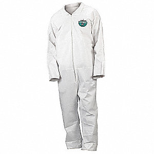 Collared Disposable Coveralls with Open Cuff, MicroMax® NS Material, White, M