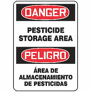 "Pesticide, Danger/Peligro, Aluminum, 14"" x 10"", With Mounting Holes, Not Retroreflective"