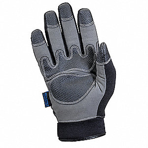 Cold Protection Gloves, Unlined Lining, Stretch Knit Cuff, Black/Gray, L, PR 1