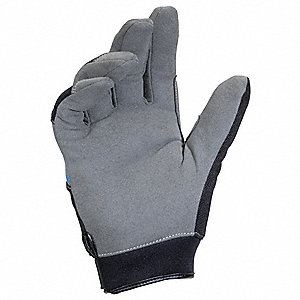 Cold Condition Mechanics Gloves, Synthetic Leather Palm Material, Black/Gray, L, PR 1