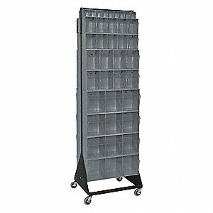 "Mobile Double Sided Tip Out Bin Rack, Gray, 75""H x 14-5/8""L x 23-5/8""W, 1EA"