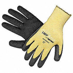 Rubber Cut Resistant Gloves, ANSI/ISEA Cut Level 5, Kevlar® Lining, Yellow/Black, S, PR 1