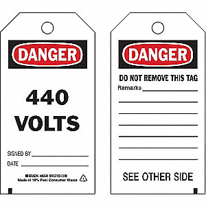 Danger Tag,5-3/4 x 3 In,440 Volts,PK10