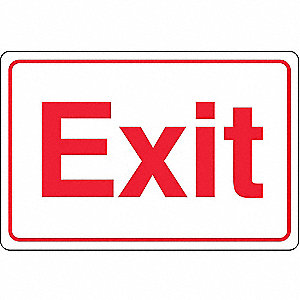 Exit Sign,6 x 9In,R/WHT,ACRYL,Exit,ENG